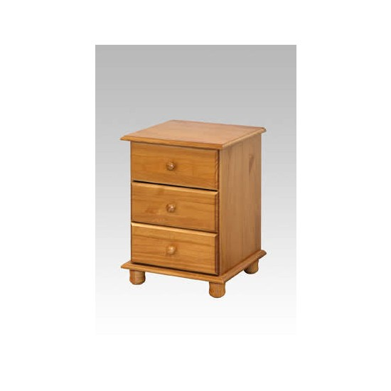 pine three drawer bedside